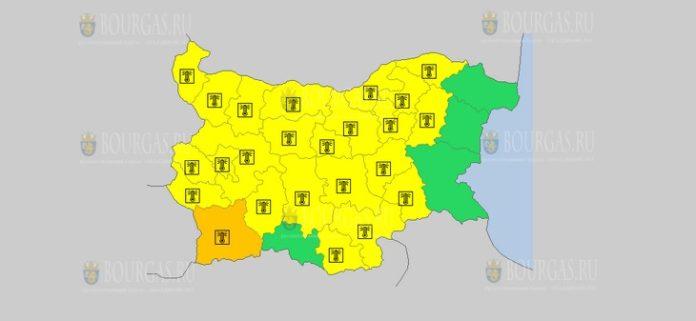 12 августа жаркий Желтый код в Болгарии