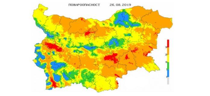 26 августа пожароопасность в Болгарии