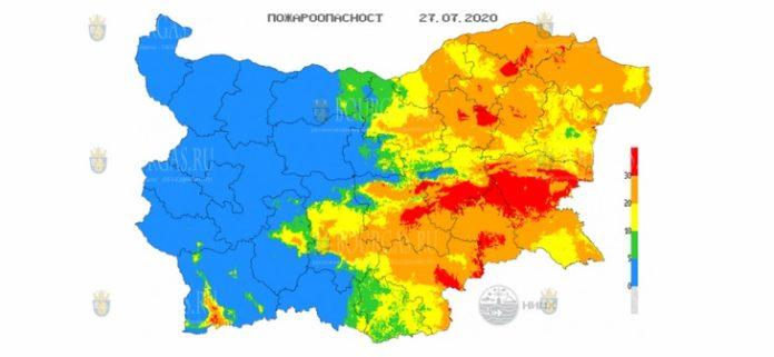 27 июля пожароопасность в Болгарии