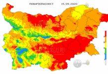 15 сентября пожароопасность в Болгарии