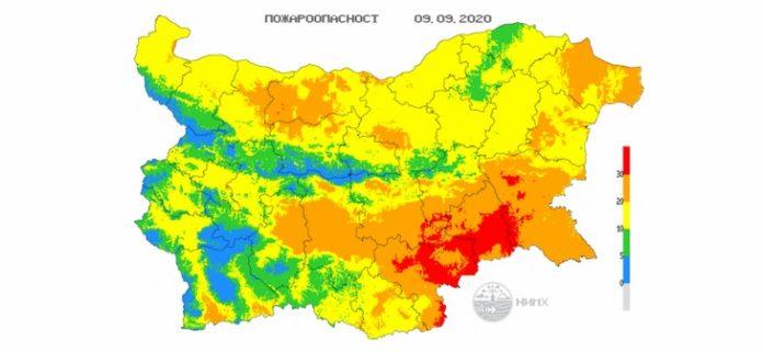 9 сентября пожароопасность в Болгарии
