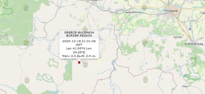 18 декабря землетрясение в Болгарии