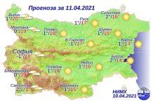11 апреля 2021 года погода в Болгарии