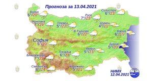 13 апреля 2021 года погода в Болгарии