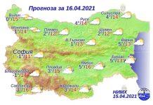16 апреля 2021 года погода в Болгарии