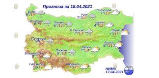 18 апреля 2021 года погода в Болгарии