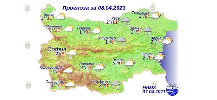 8 апреля 2021 года погода в Болгарии