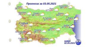 3 мая 2021 года погода в Болгарии