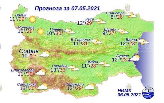7 мая 2021 года погода в Болгарии