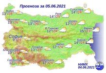 5 июня 2021 года погода в Болгарии