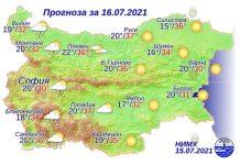 16 июля 2021 года погода в Болгарии