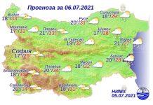 6 июля 2021 года погода в Болгарии