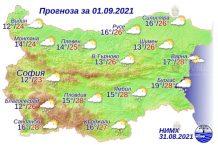 1 сентября 2021 года погода в Болгарии