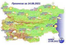 14 августа 2021 года погода в Болгарии