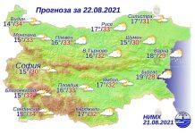22 августа 2021 года погода в Болгарии