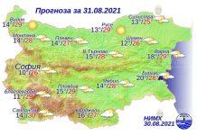 31 августа 2021 года погода в Болгарии