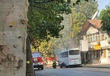 В центре Велико Тырново загорелся автобус
