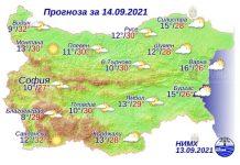 14 сентября 2021 года погода в Болгарии
