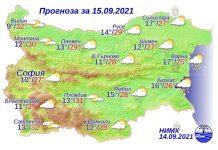 15 сентября 2021 года погода в Болгарии