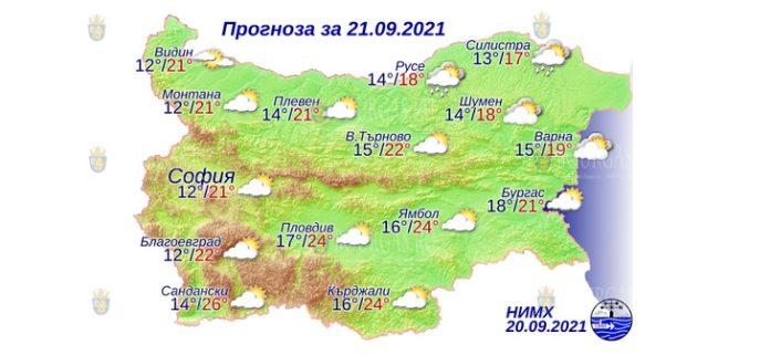 21 сентября 2021 года погода в Болгарии