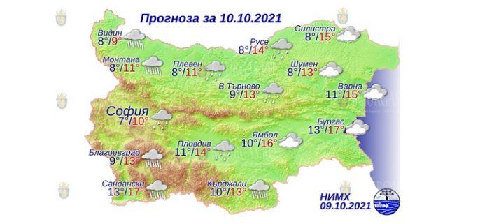 10 октября 2021 года погода в Болгарии
