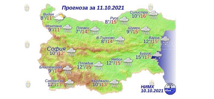11 октября 2021 года погода в Болгарии