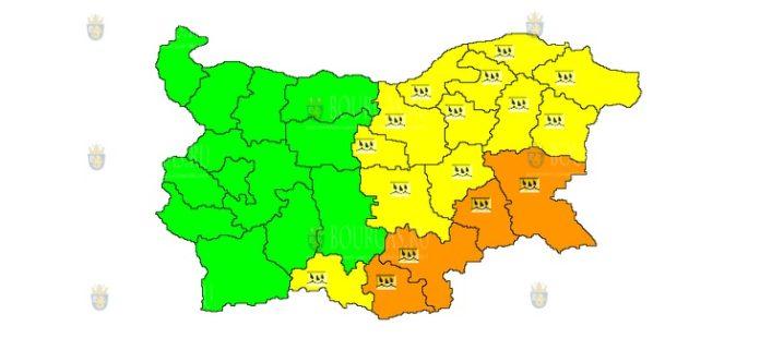 12 октября Оранжевый и Желтый Код в Болгарии