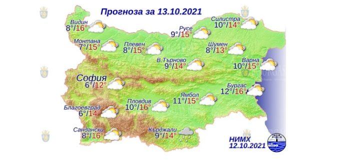 13 октября 2021 года погода в Болгарии