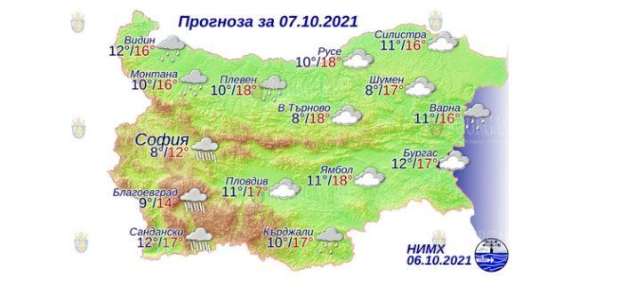 7 октября 2021 года погода в Болгарии